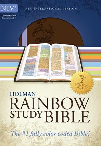 NIV Rainbow Study Bible, Imitation Leather, Brown/Lavender (Leather-Look)