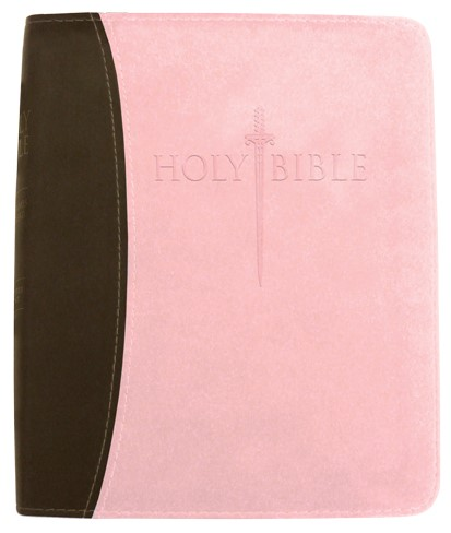 Kjver Thinline Bible/Personal Size-Chocolate/Pink Ultrasoft (Imitation Leather)
