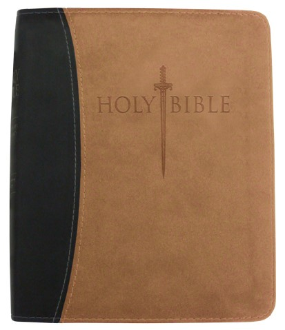 Kjver Thinline Bible/Large Print-Black/Tan Ultrasoft (Imitation Leather)