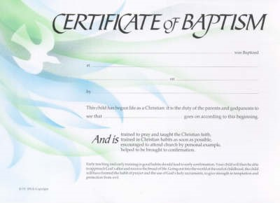 Baptism Certificate Dove (Pack of 20)