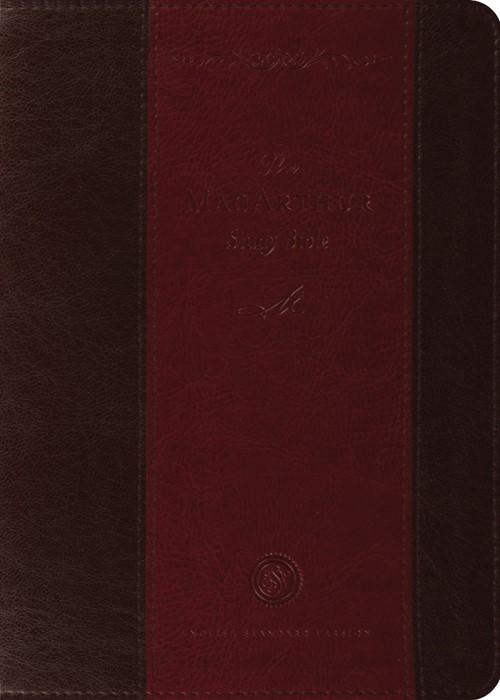 ESV Macarthur Study Bible (Trutone, Brown/Crimson) (Imitation Leather)