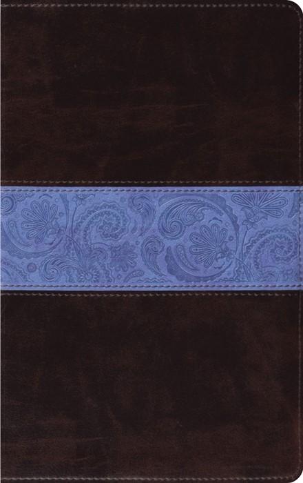ESV Thinline Bible Trutone, Chocolate/Blue, Paisley Band (Imitation Leather)