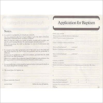 Applications for Baptism B1 [50] (Loose-leaf)