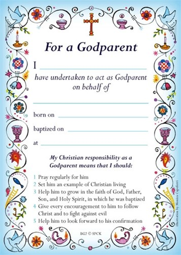 Godparent Card New Blue (pack of 40) (Certificate)