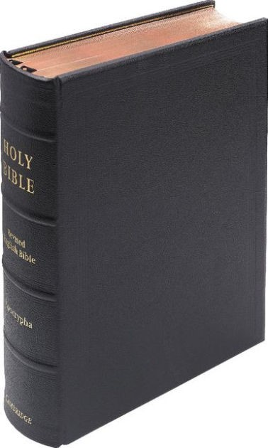 REB Lectern Bible With Apocrypha, Black Goatskin Leather (Leather Binding)