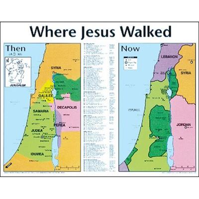 Where Jesus Walked: Then.. 20X26 (Wall Chart)