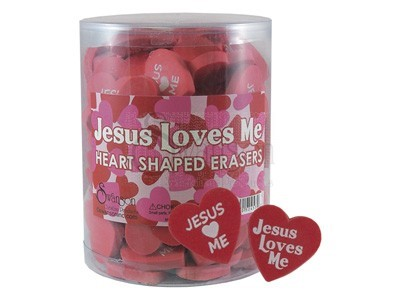 Jesus Loves Me Heart Eraser Pk96