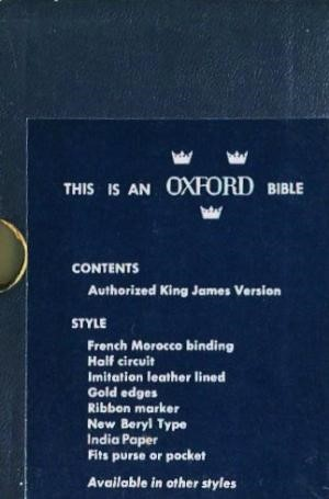 KJV Pocket Oxford Text Bible (Hard Cover)