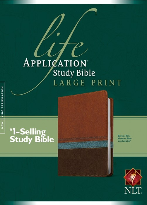 NLT Life Application Study Bible Large Print Brown/Tan/Blue (Imitation Leather)