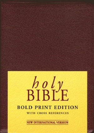 NIV Bold Print Reference Bible Maroon (Leather Binding)