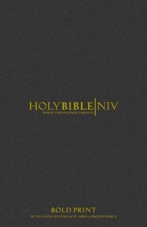 NIV Bold Print Reference Bible with Concordance Black (Hard Cover)