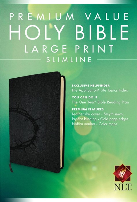 NLT Premium Value Slimline Large Print Bible: Crown design (Imitation Leather)