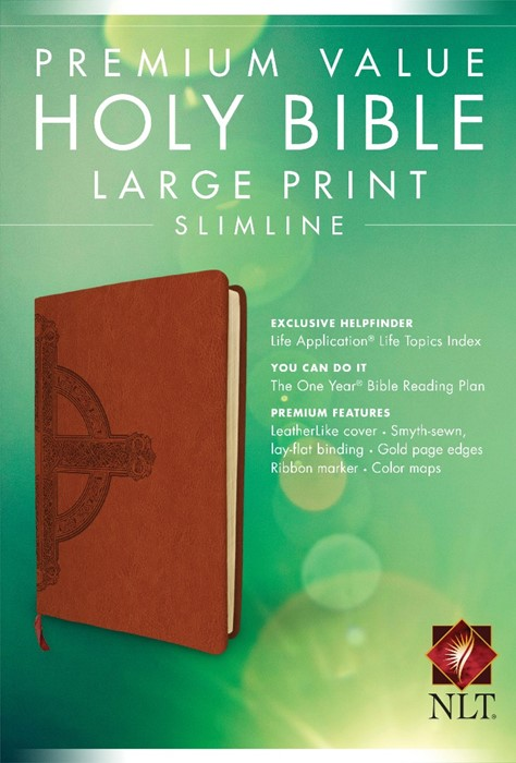 NLT Premium Value Slimline Large Print Bible: Cross Design (Imitation Leather)