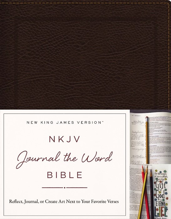 NKJV Journal the Word Bible BL Brown (Bonded Leather)