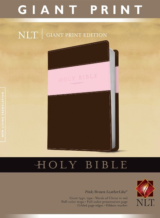 NLT Holy Bible, Giant Print, Pink/Brown (Imitation Leather)