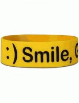 Wide Silicone Wristband: Smile