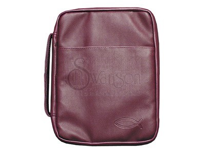 Bible Cover Burgundy Fish Imitation Leather Medium (Imitation Leather)
