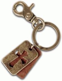 Leather Dogtag Brass Keyring