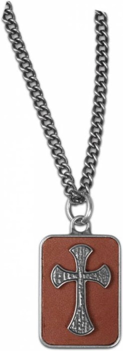 Mens Necklace Cross on Leather