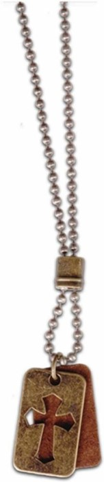 Necklace Leather/Brass Dogtag