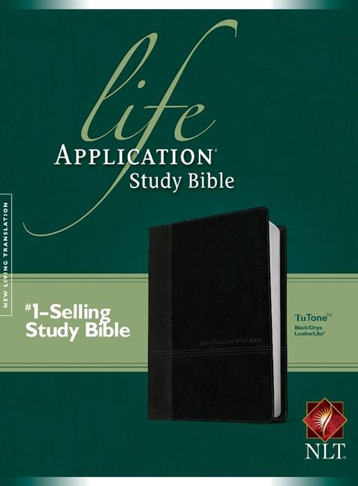 NLT Life Application Study Bible Tutone Black/Onyx (Imitation Leather)