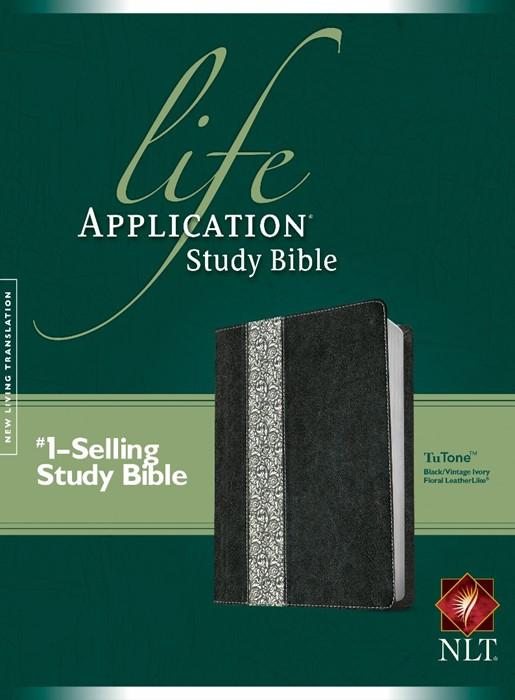 NLT Life Application Study Bible Tutone Black/Vintage (Imitation Leather)