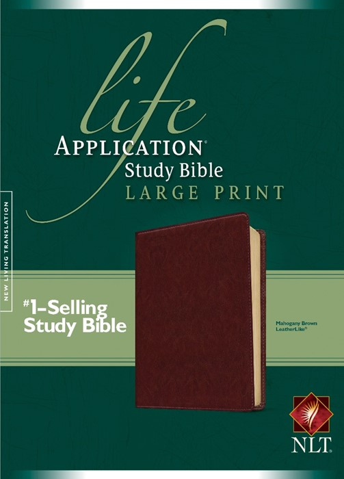 NLT Life Application Study Bible Large Print, Mahogany Brown (Imitation Leather)