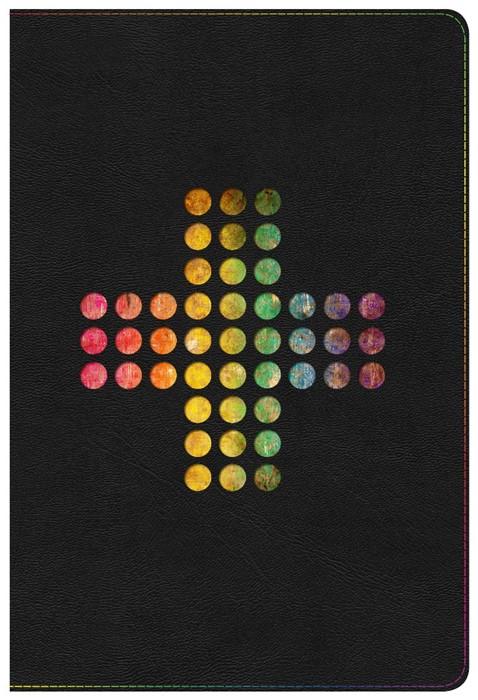 NIV Rainbow Study Bible, Pierced Cross Leathertouch Indexed