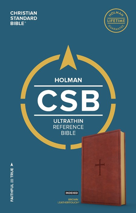 CSB Ultrathin Reference Bible, Brown Leathertouch, Indexed (Imitation Leather)