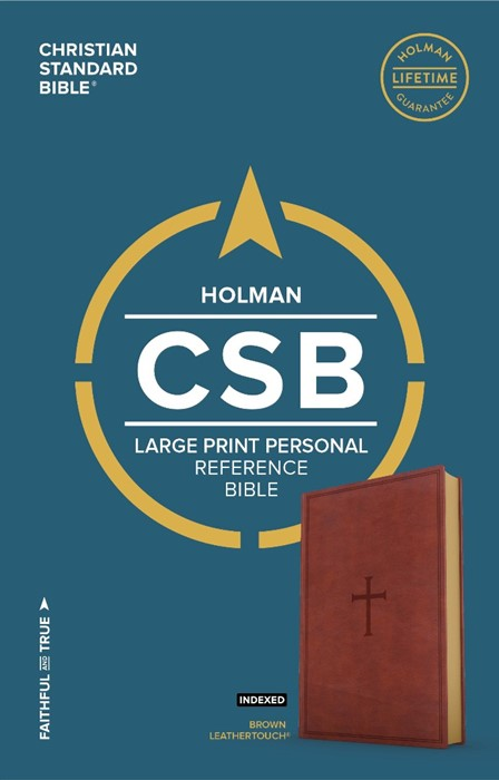 CSB Large Print Personal Size Reference Bible, Brown (Imitation Leather)