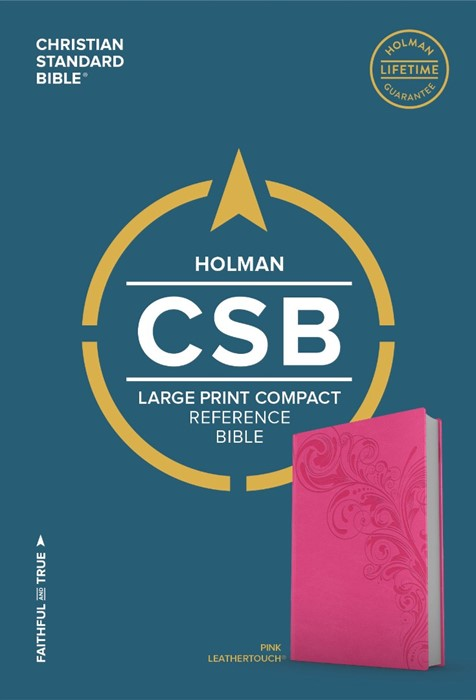 CSB Large Print Compact Reference Bible, Pink Leathertouch (Leather Binding)