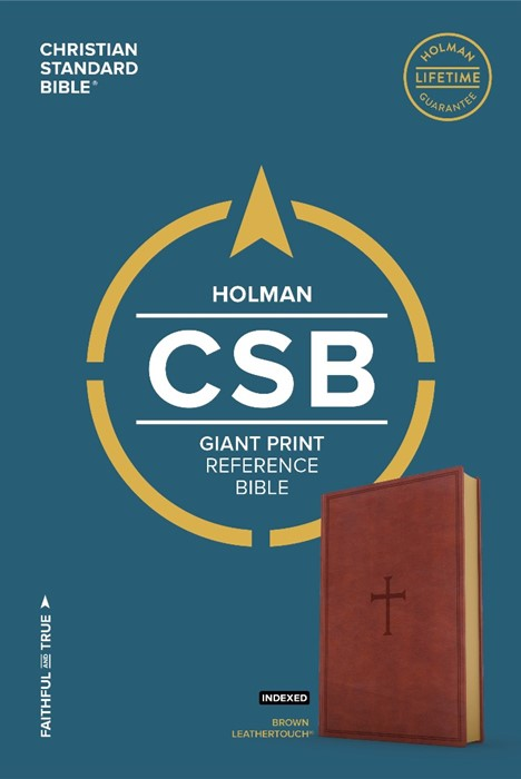 CSB Giant Print Reference Bible, Brown Leathertouch, Indexed (Leather Binding)