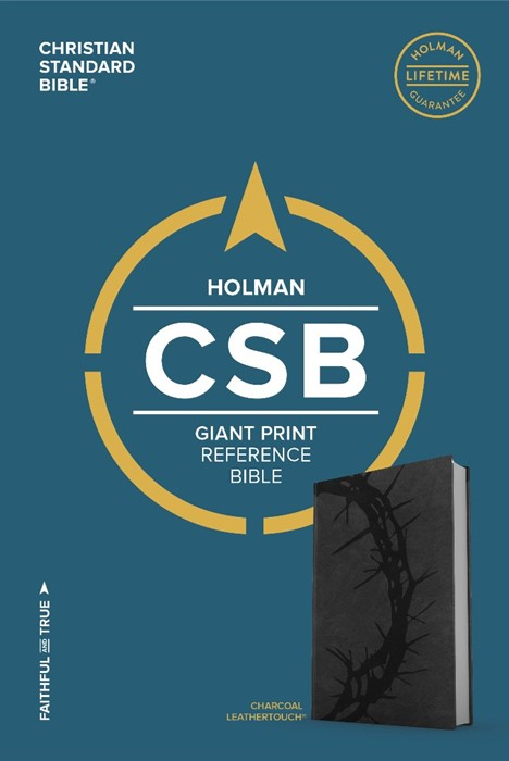 CSB Giant Print Reference Bible, Charcoal Leathertouch (Leather Binding)