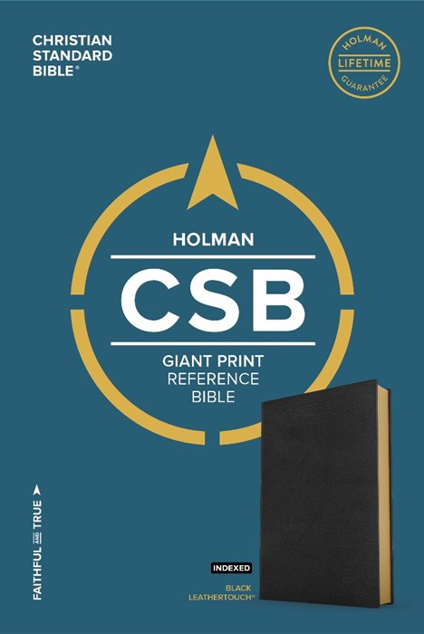 CSB Giant Print Reference Bible, Black Leathertouch, Indexed (Leather Binding)