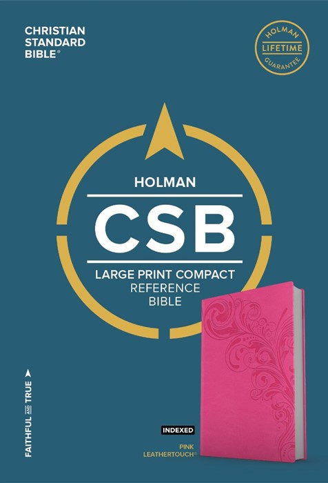 CSB Large Print Compact Reference Bible, Pink Leathertouch (Imitation Leather)
