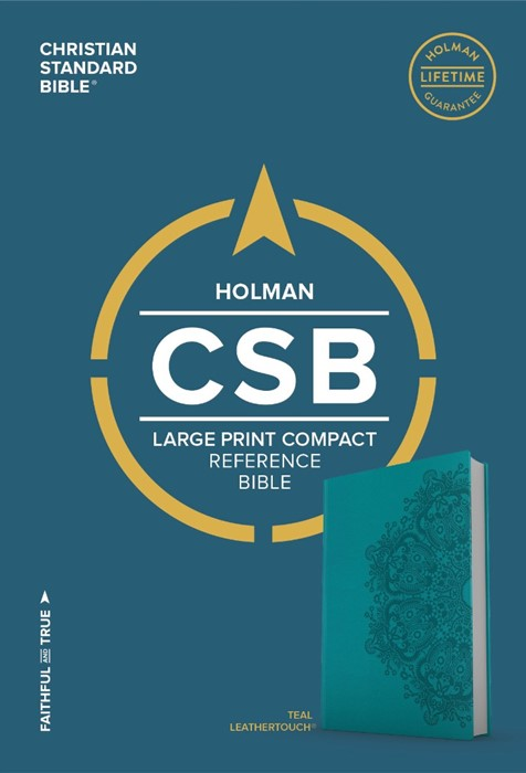 CSB Large Print Compact Reference Bible, Teal Leathertouch (Imitation Leather)