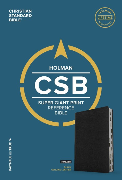 CSB Super Giant Print Reference Bible, Brown Genuine Leather (Leather Binding)