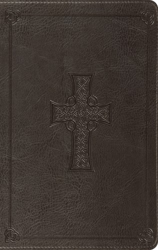 ESV Large Print Thinline Bible (Trutone, Charcoal, Celtic Cr (Leather Binding)
