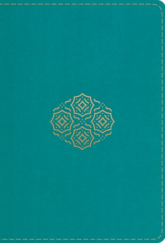 ESV Large Print Compact Bible, Trutone, Teal, Bouquet Design (Leather Binding)