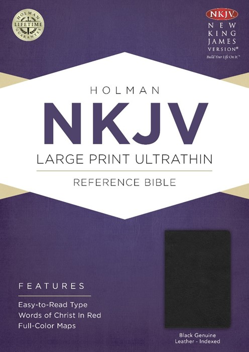 NKJV Large Print Ultrathin Reference Bible, Black (Genuine Leather)