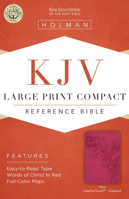 KJV  Large Print Compact Reference Bible, Pink Leathertouch, (Leather Binding)