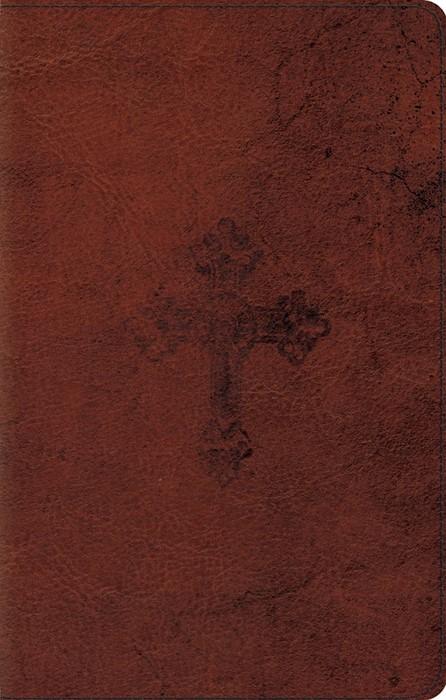 ESV UltraThin Bible (TruTone, Walnut, Weathered Cross Design (Leather Binding)