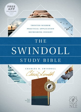 The NLT Swindoll Study Bible Brown/Teal/Blue, Indexed (Imitation Leather)