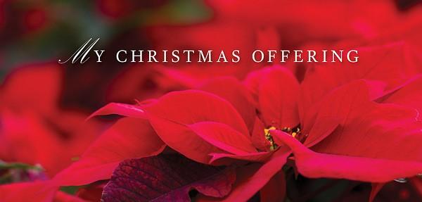 Poinsettia & Music Christmas Offering Envelope (Pkg of 50) (Bulletin)
