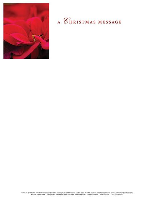 Poinsettia & Music Christmas Letterhead (Pkg of 50) (Bulletin)