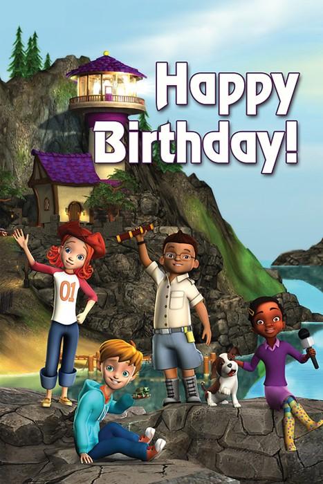 Deep Blue Kids Lighthouse Happy Birthday Postcard (Pkg of 25 (Postcard)