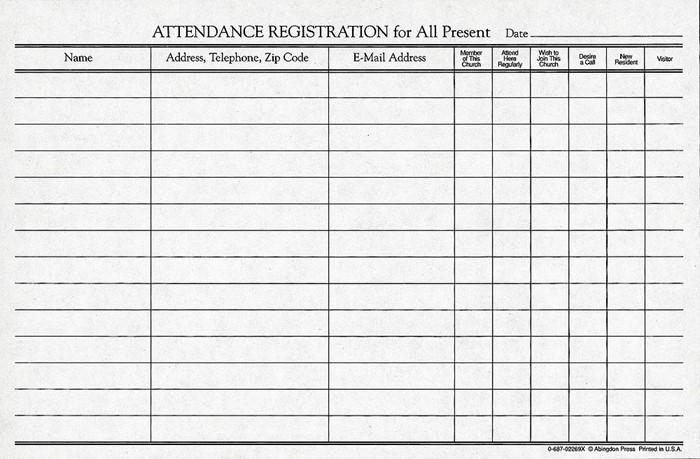 Attendance Registration Pad (Pkg of 12) (Miscellaneous Print)
