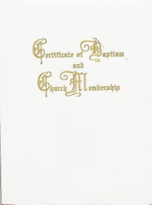 Traditional Steel-Engraved Certificate of Baptism and Church (Miscellaneous Print)