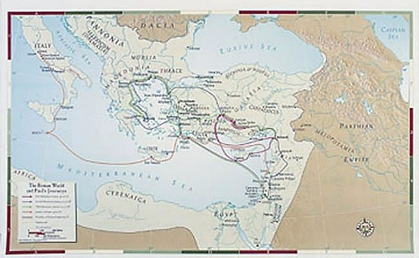 Abingdon Bible Land Map--The Roman World and Paul's Journeys (Miscellaneous Print)