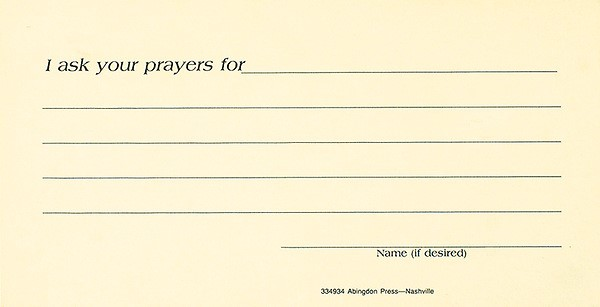 Prayer Request Card (Pkg of 25) (Cards)